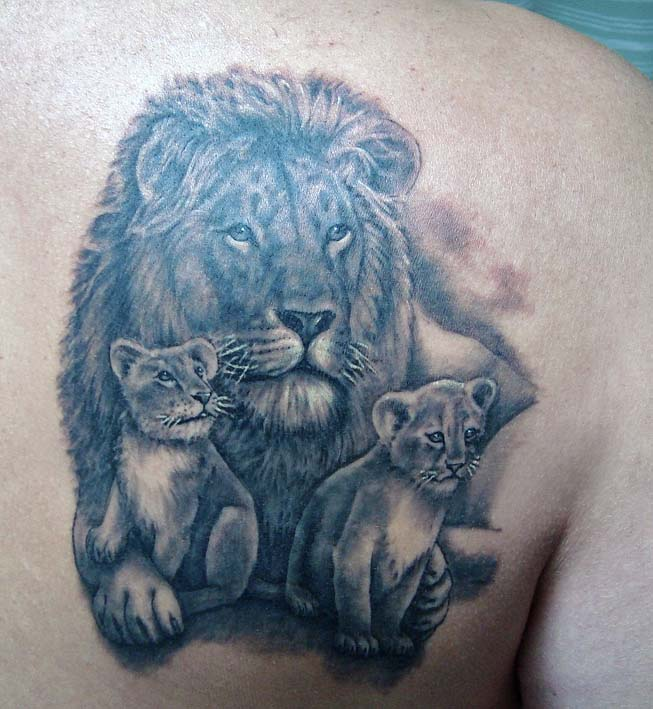 Lion With Cub Tattoo