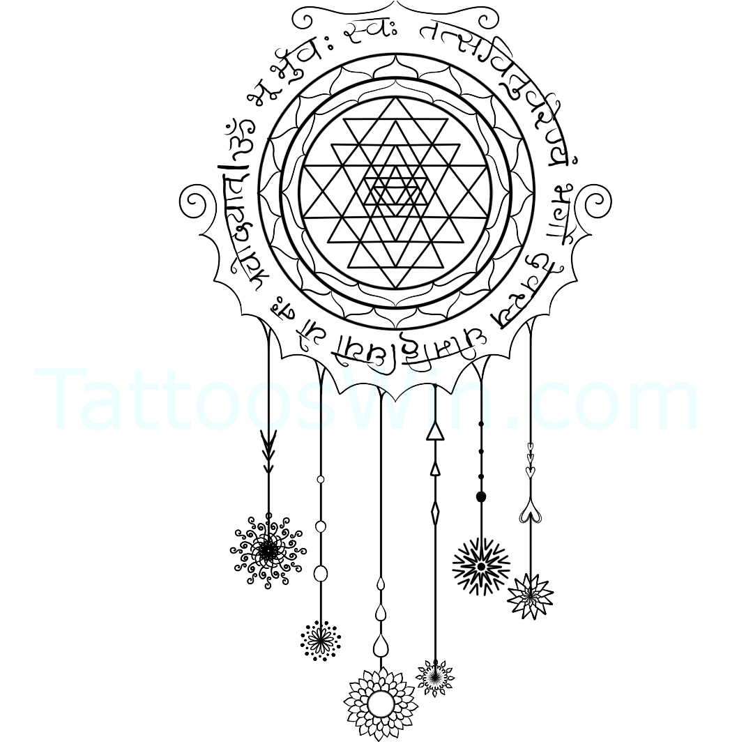 Dreamcatcher Gayatri Mantra Tattoo Design