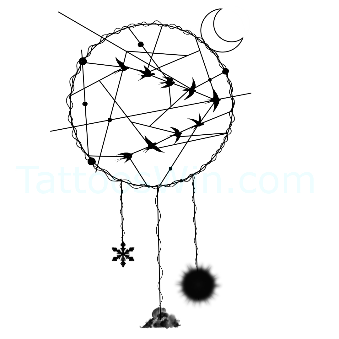 Dreamcatcher With Bird Tattoo Design.
