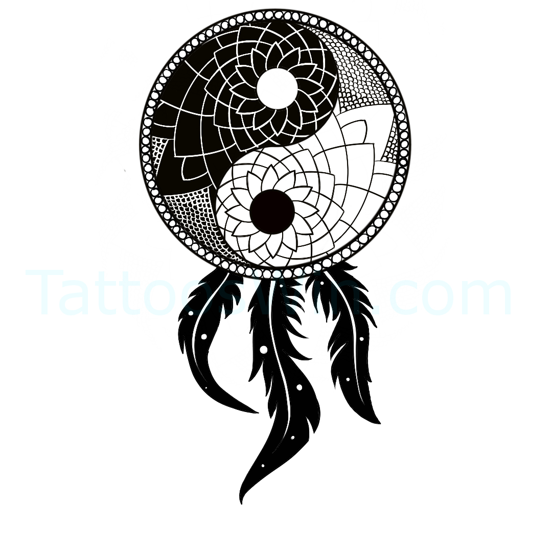 DreamCatcher Yin Yang Tattoo Design.