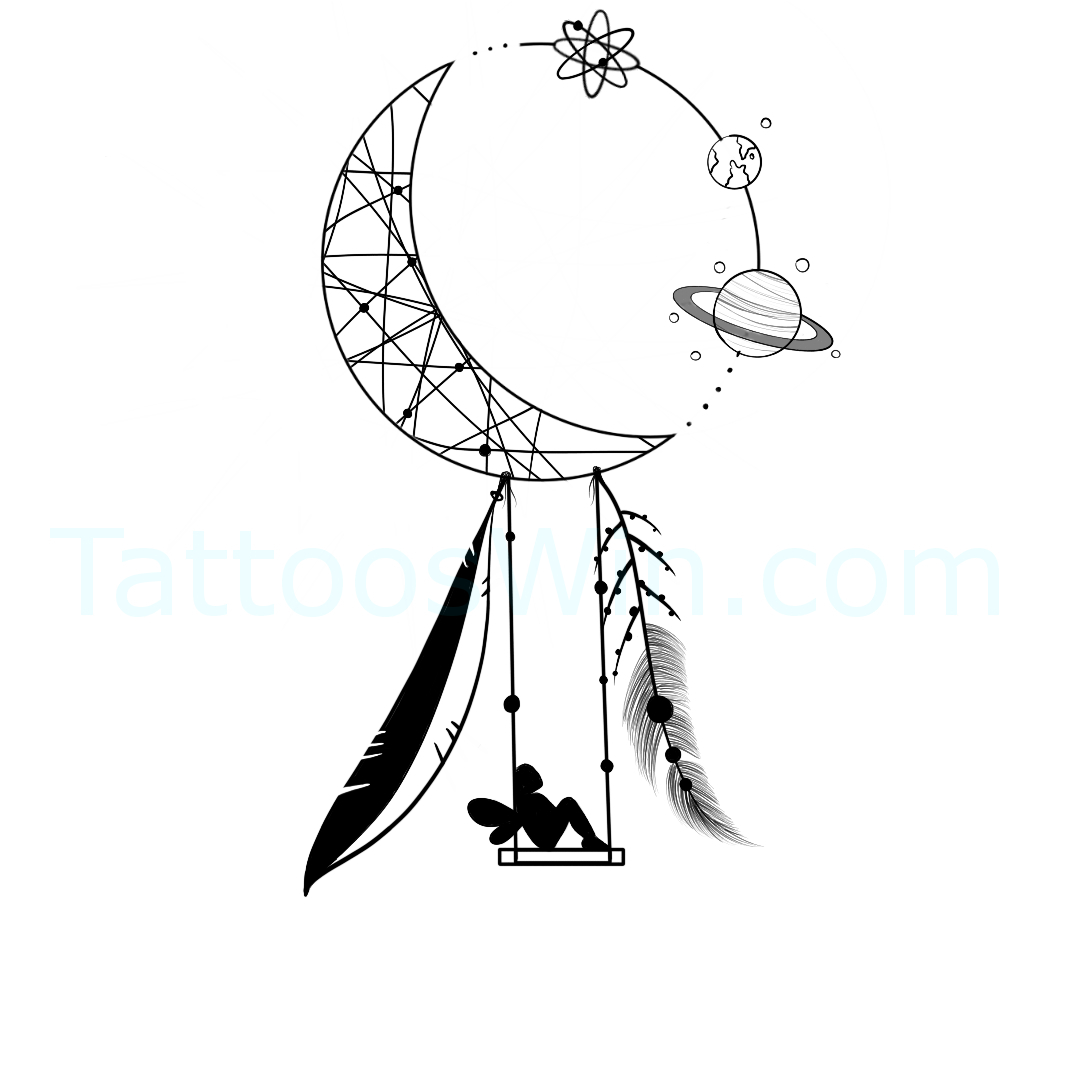 Crescent Moon DreamCatcher Tattoo Design