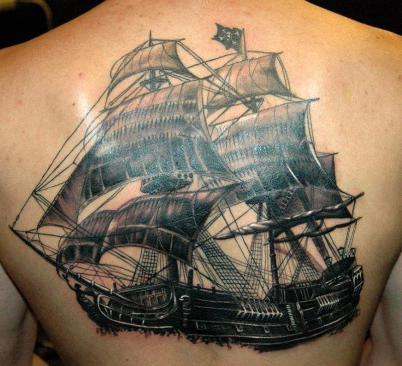 28 Outstanding Pirate Ship Tattoos and Meanings Tattoos Win