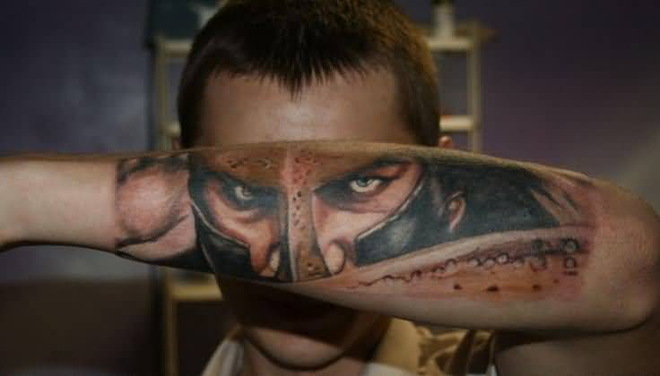 best-3d-warrior-face-tattoo-on-arm