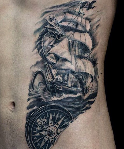 28 Outstanding Pirate Ship Tattoos and Meanings - Tattoos Win