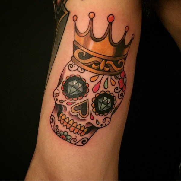 1854c933f 27 Colorful Sugar Skull Tattoo Designs and Meanings - Tattoos Win