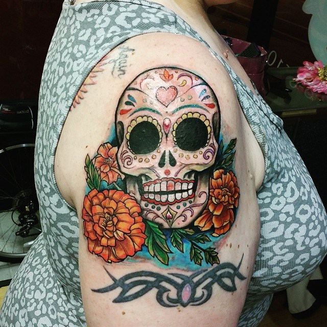 27 Colorful Sugar Skull Tattoo Designs And Meanings Tattoos Win