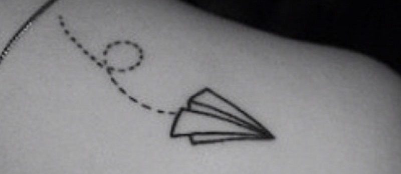 edf7b80ce991e 24 Paper Airplanes Tattoos With Fun and Whimsical Meanings - Tattoos Win