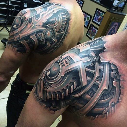 6422655e10425 36 Mechanical Arm Tattoos With Meanings - Tattoos Win