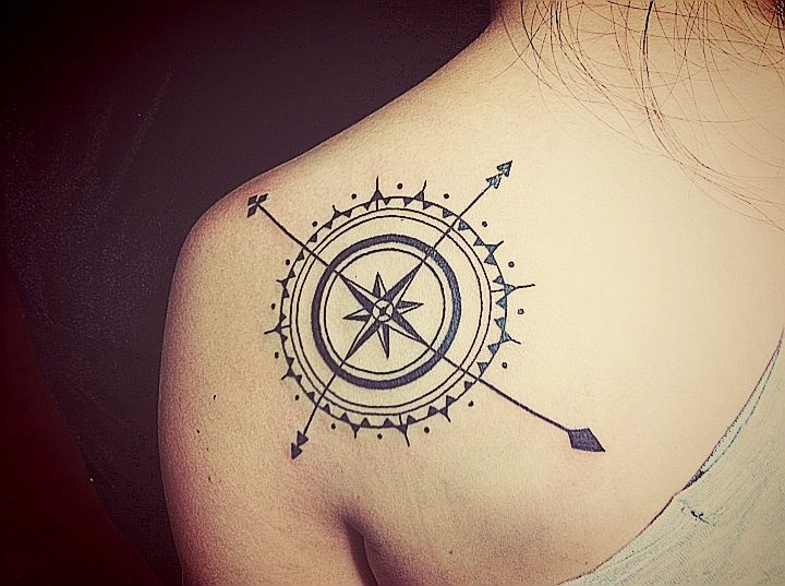 Compass Tattoo Line Drawing : Compass tattoos with the maritime meanings win