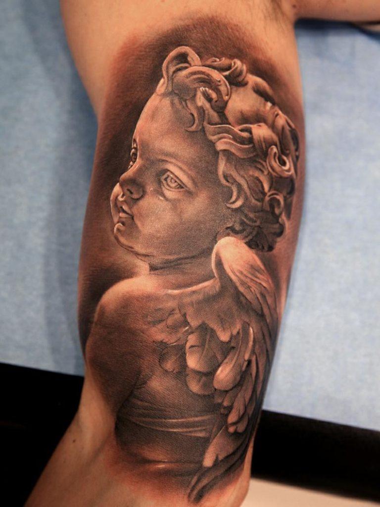 100+ [ Angel Statue Tattoo ] | Statue Tattoo Angel Arm ...