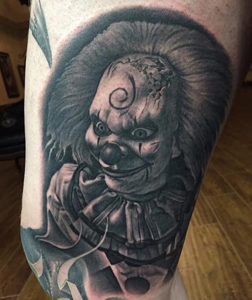 61910d3b79bab 46 Evil Clown Tattoos and Their Mischievous and Dark Meanings - Tattoos Win