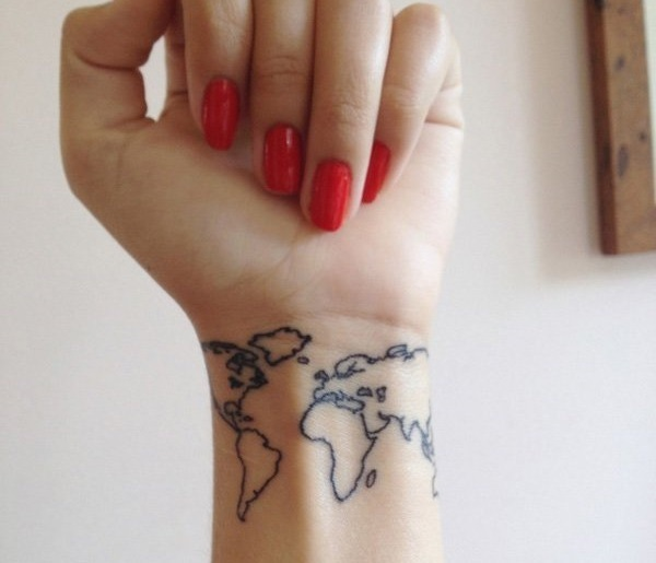 26 world map tattoos with releasing and wandering meanings tattoos win swipe leftright to see more gumiabroncs Gallery