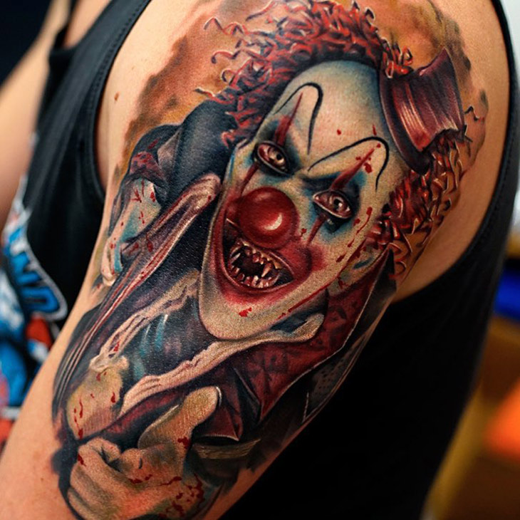 d7bf2d707 46 Evil Clown Tattoos and Their Mischievous and Dark Meanings - Tattoos Win