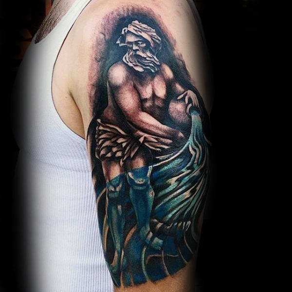 water carrier mens aquarius shaded upper arm tattoo tattoos win. Black Bedroom Furniture Sets. Home Design Ideas