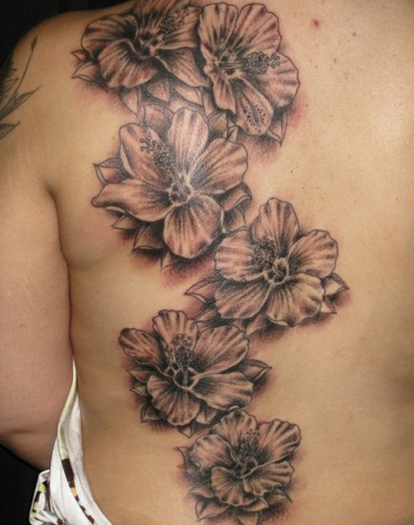 Flying Erfly And Hibiscus Flowers Tattoos