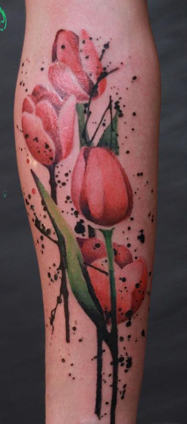 34 Colorful Tulip Tattoos and Their Creative Meanings - Tattoos Win
