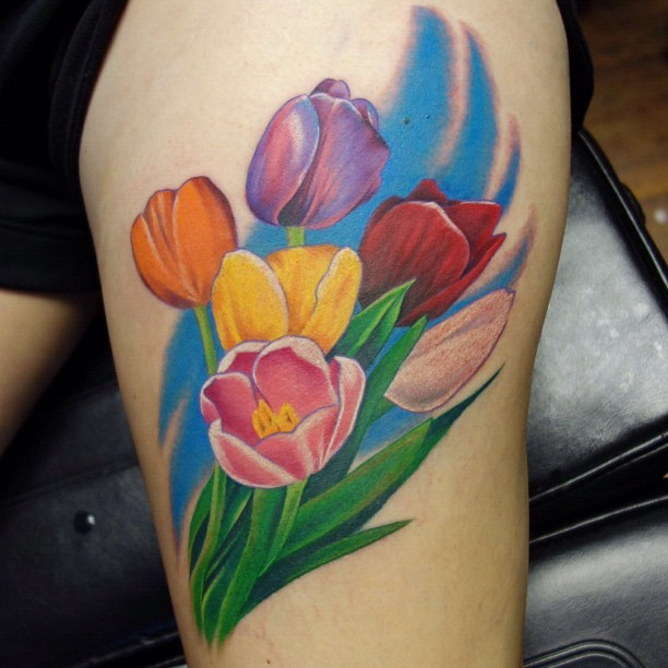 ae26d6565 34 Colorful Tulip Tattoos and Their Creative Meanings - Tattoos Win
