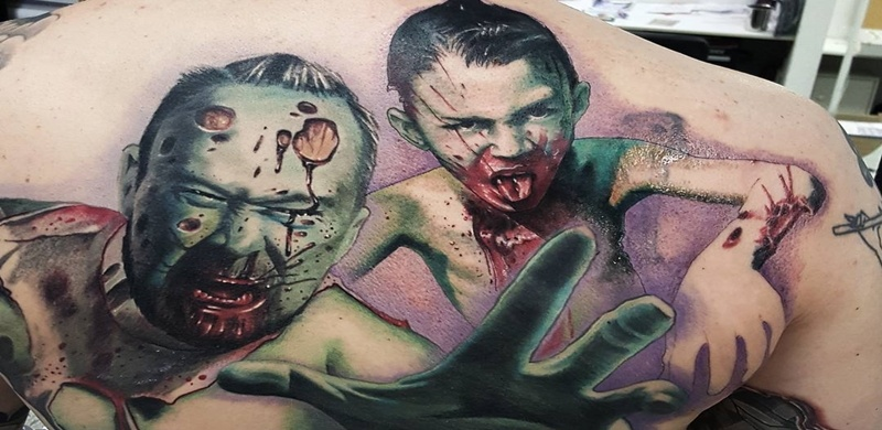 Zombie tattoos with undead attractions and meanings for Zombie tattoo machine