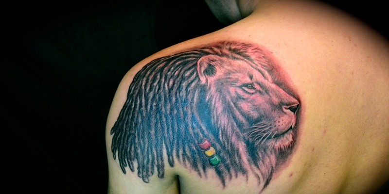lion tribal tattoo on shoulder