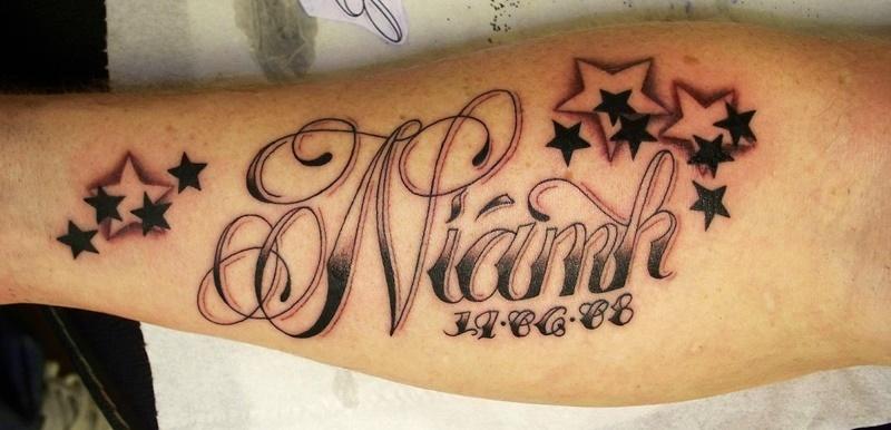 name tattoo on sleeve