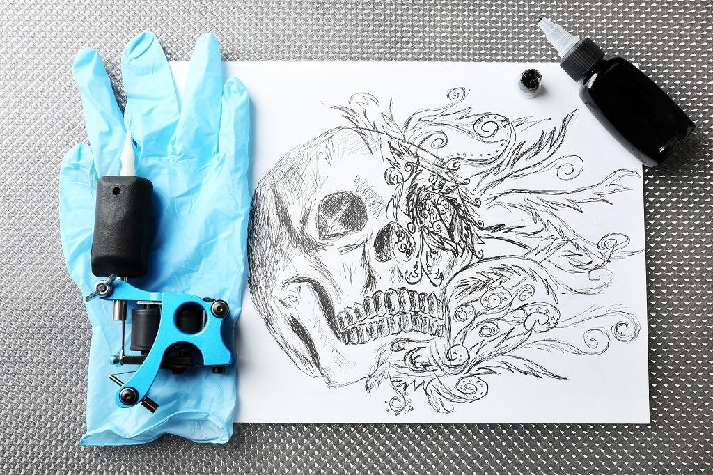 Black tattoo ink on paper