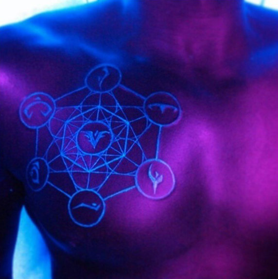 UV tattoo ink on chest