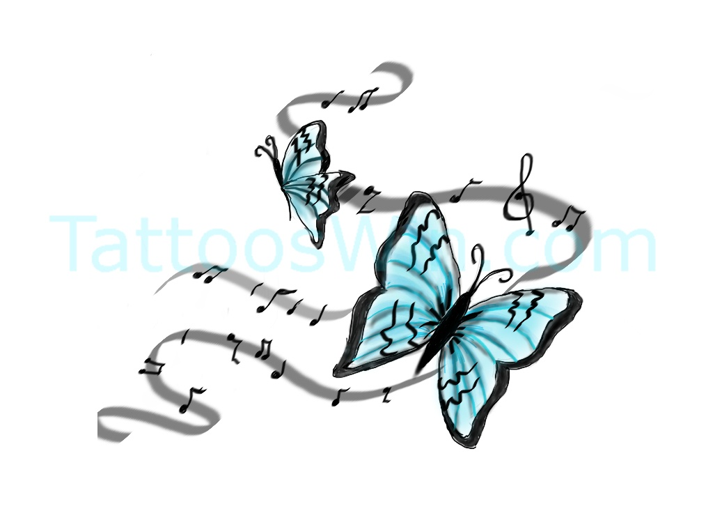 Unique Colorful Butterfly Tattoo Desings With Treble Clef