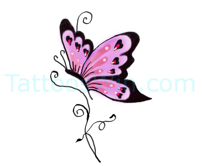 Unique Colorful Butterfly Tattoo Desings With Heart
