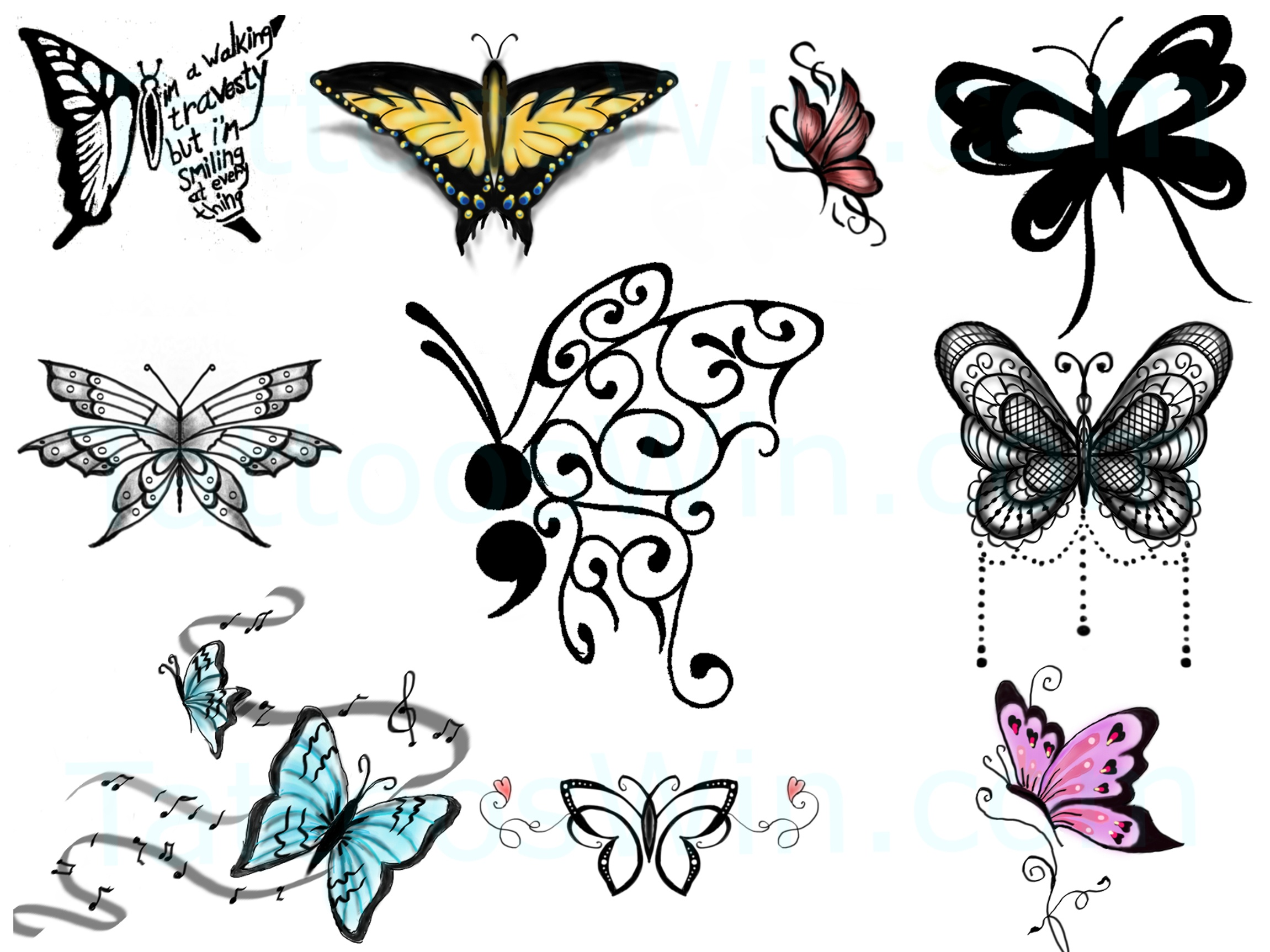 New Colurful Butterfly Tattoo Designs