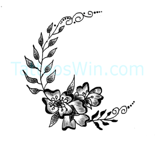 Beautiful Crescent Moon with Flower And Leaves Tattoo Designs
