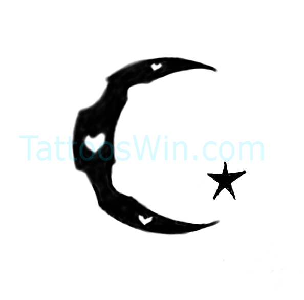 New Crescent Moon With Star And Heart Tattoo Designs