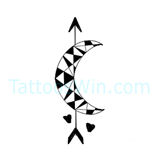 Crescent Moon With Arrow And Heart Tattoo Designs