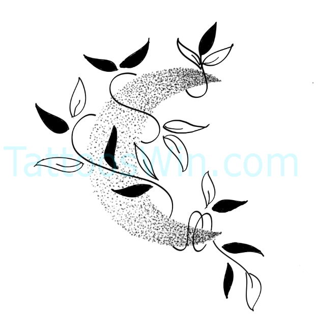Beautiful Crescent Moon With Leaves Tattoo Designs