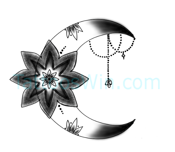 Crescent Moon With Flower Tattoo New Designs