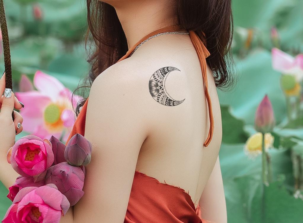 Crescent Moon Tattoo On Shoulder Back