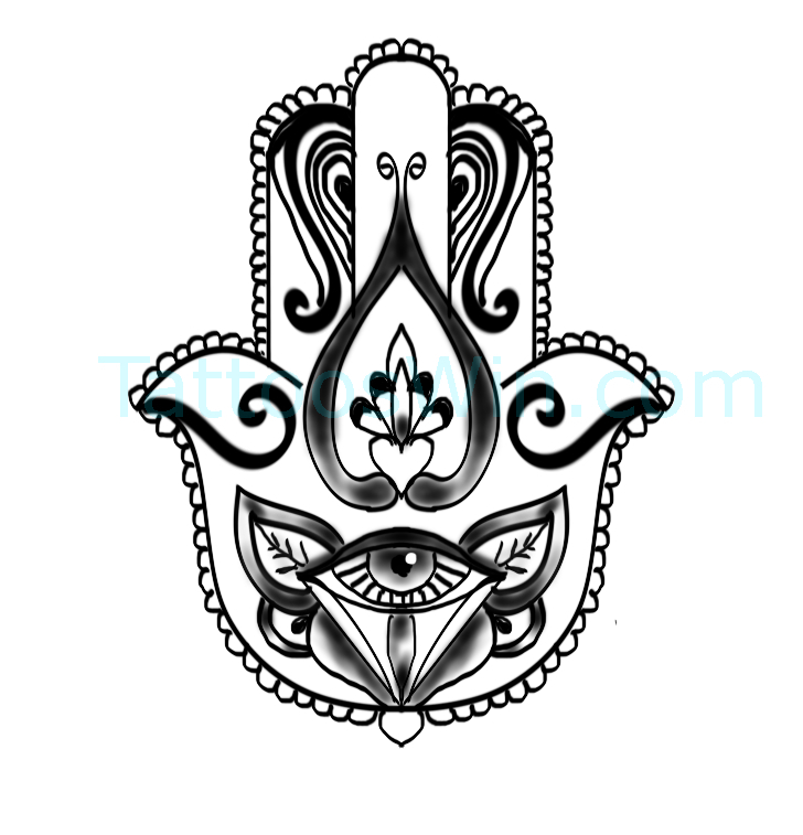 Hamsa With Evil Eye Original and New Tattoo Designs