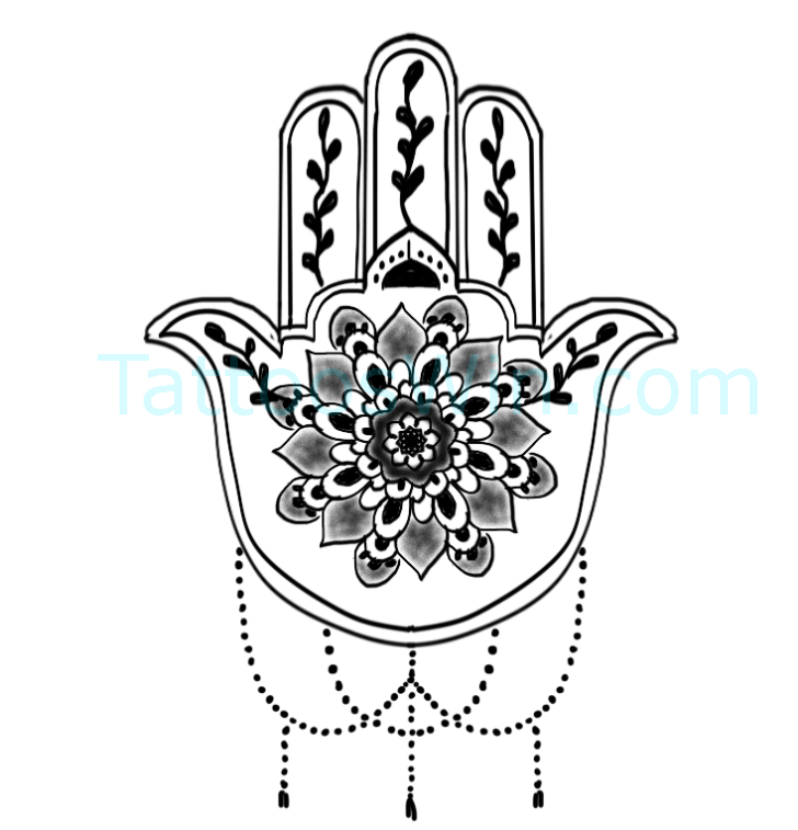 Hamsa With Flower Tattoo Design Original