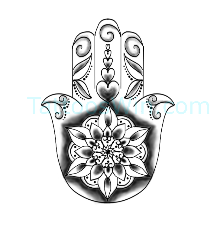Hamsa with Flower Tattoo Designs New and Original