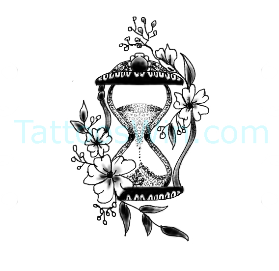 Hour Glass Tattoo Design Idea with Flower
