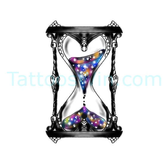 Hour Glass Tattoo Design Ideas Colourful