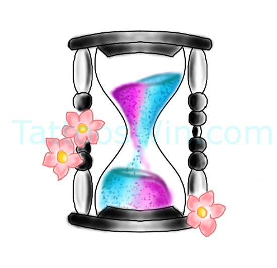 Hour Glass Tattoo Design Colourful