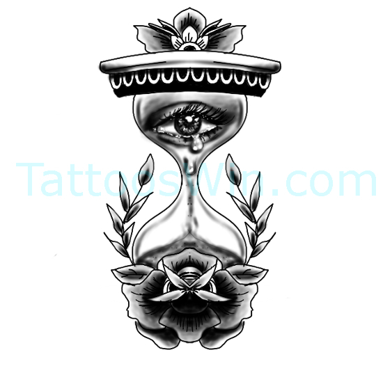 Hour Glass Tattoo Design Ideas Sad Eye