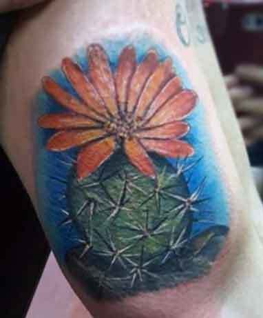Cactus Tattoo With Flower