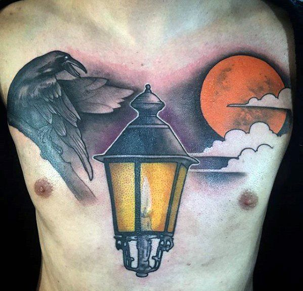 Lantern Tattoo On Chest Men