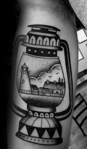 Lantern Tattoo With Light House On Hand for Man