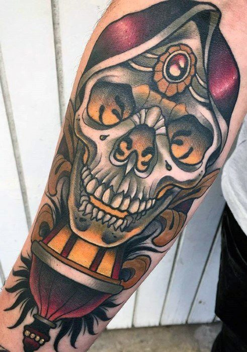 Lantern Tattoo with Skull