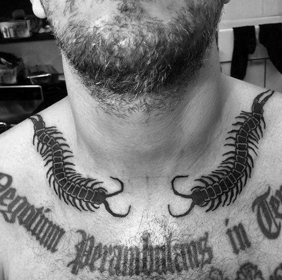 Centipede Tattoo For Men On Neck