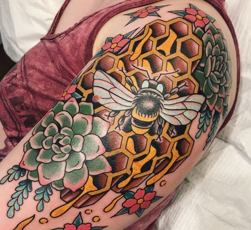 Honeycomb Tattoo With Bee and Flower on Shoulder