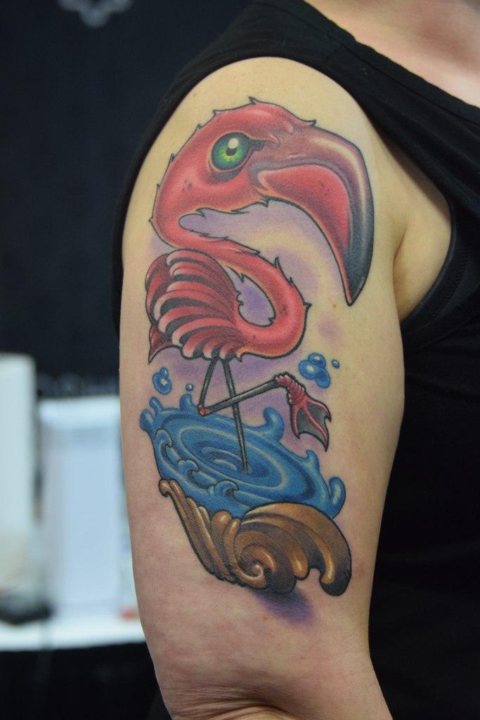 Flamingo Tattoo On Shoulder Man