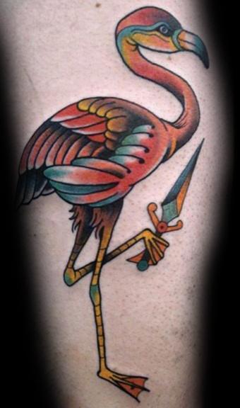 Flamingo With Dagger Tattoo